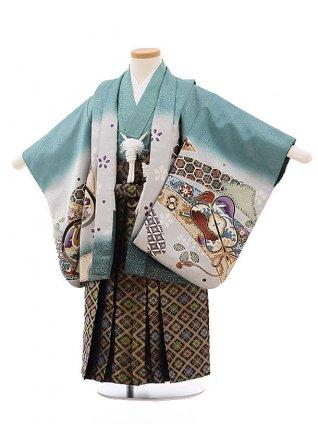 七五三レンタル(3歳男袴)F257 グリーン地 束ねのしに鷹