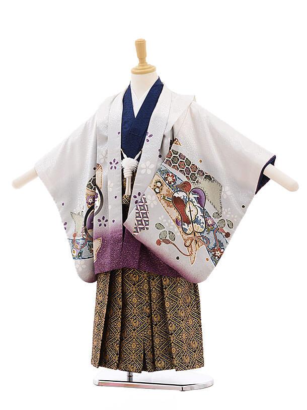 七五三レンタル(5歳男袴)F269 白地 束ねのしに鷹