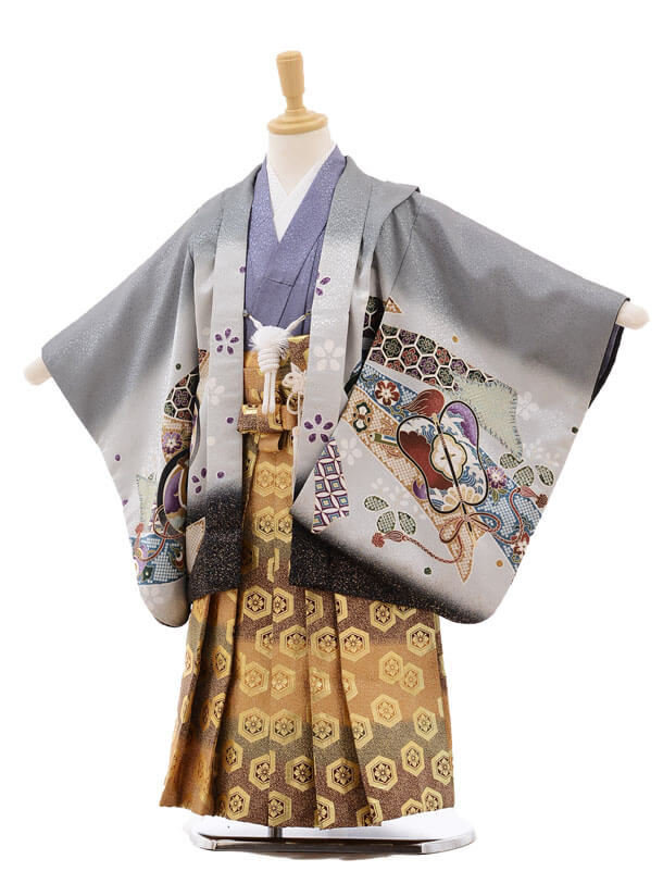 七五三レンタル(5歳男袴)F270 グレー地 束ねのしに鷹×金地袴