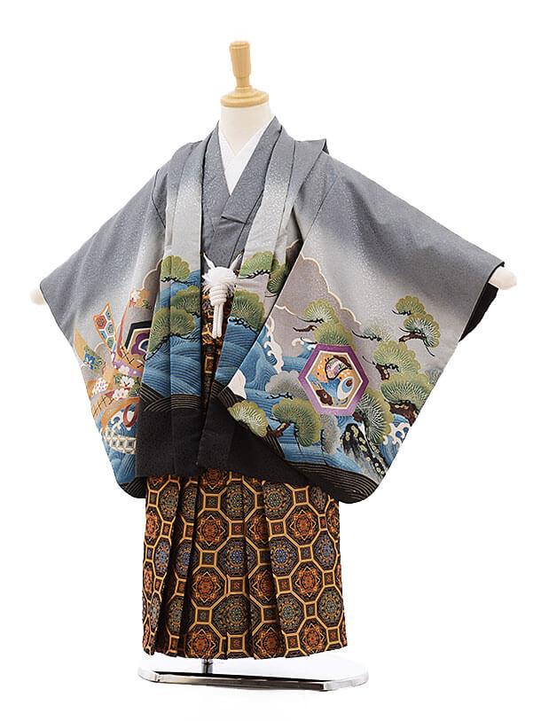 七五三レンタル(5歳男袴)F277 グレー地 宝舟に兜×金地に濃紺袴