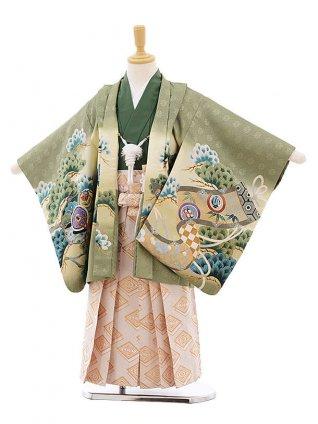 七五三レンタル(5歳男袴)F282 グリーン地 小槌 兜×ベージュ地袴