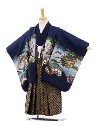 七五三レンタル(5歳男袴)F284 紺地 小槌 鷹×紺袴
