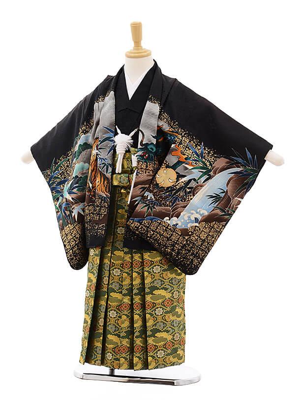 七五三レンタル(5歳男袴)F287 黒地 寅と龍×グリーン袴