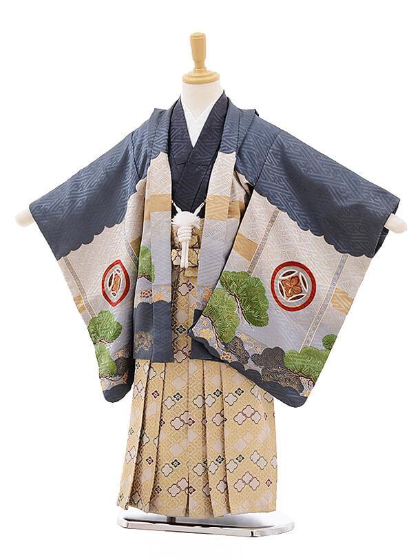 七五三レンタル(5歳男袴)F291 グレー地 兜×ベージュ地袴