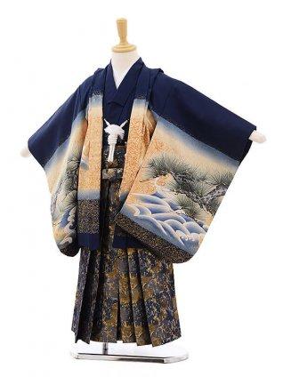 七五三レンタル(5歳男袴)F292 紺地 富士に鷹×黒地に青袴