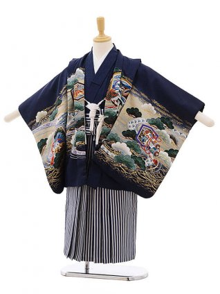 七五三レンタル(5歳男袴)F296 紺地 小槌 兜×紺縞袴