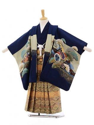 七五三レンタル(5歳男袴)F298 紺地 のしめ 兜×金地袴