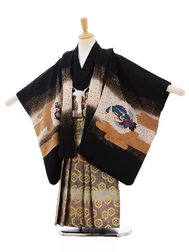七五三レンタル(5歳男袴)F299 黒地 龍に鷹×金古典柄袴