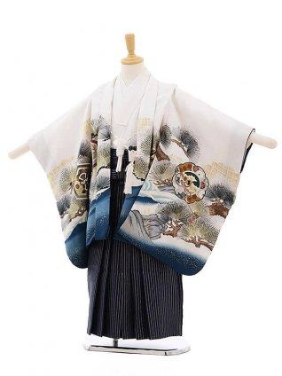 七五三レンタル(5歳男袴)F300 白地 松に鷹×紺地シルバー縞袴