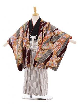 七五三レンタル(5歳男袴)F303 エンジ色 矢柄に花×白地袴