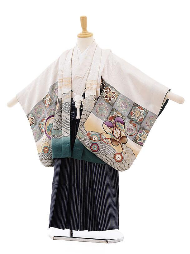 七五三レンタル(5歳男袴)F307 白地 波に鷹 兜×紺地シルバー縞袴