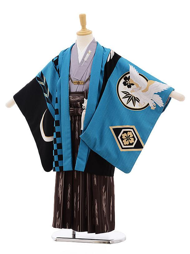 七五三レンタル(5歳男袴)F311 JAPAN STYLE ブルー×黒