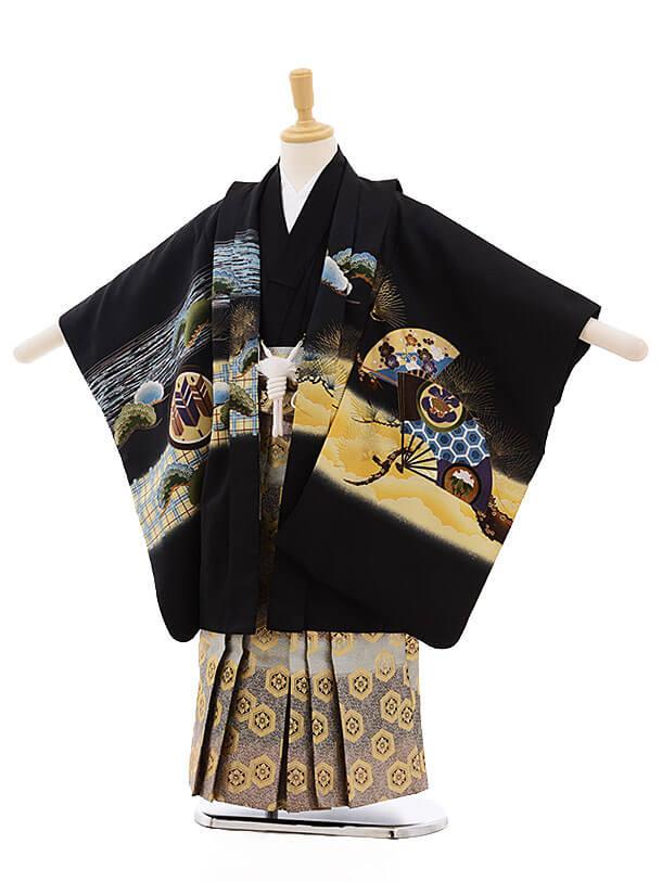 七五三レンタル(5歳男袴)F316 黒地 丸紋 鷹×金古典柄袴