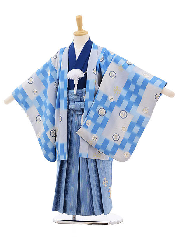 七五三レンタル(5歳男袴)F318 武部浪漫 水色 市松×水色袴