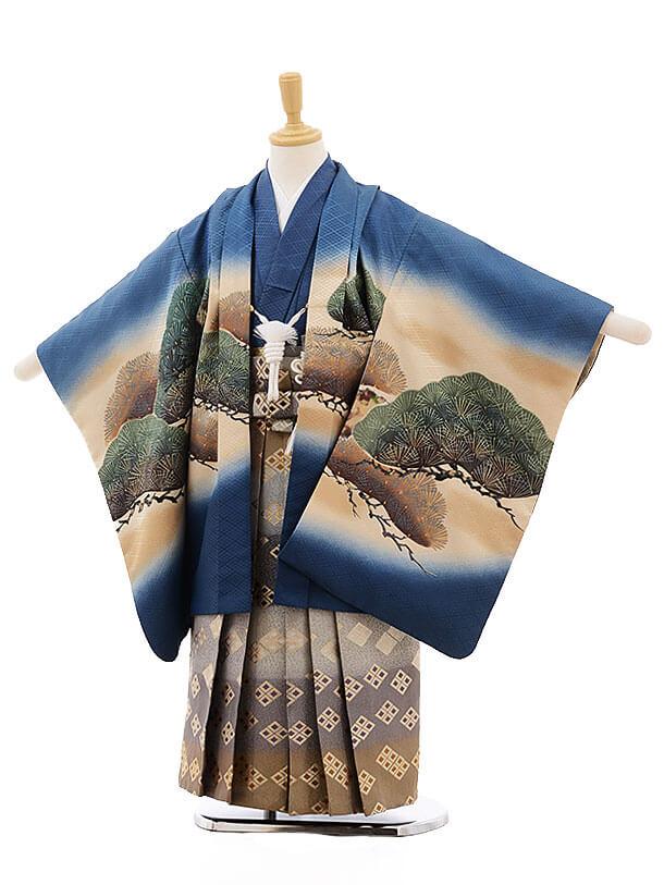 七五三レンタル(5歳男袴)F320 ブルー地ぼかし 松に鷹×くすみカラー袴