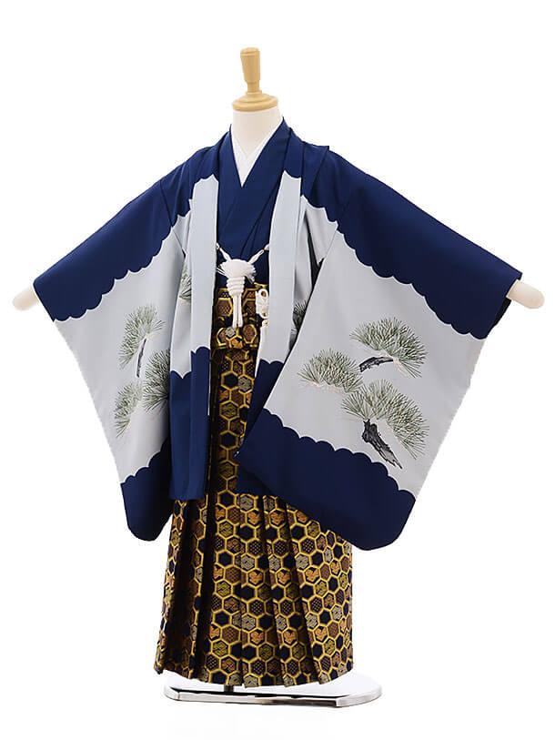 七五三レンタル(5歳男袴)F321 紺地 丸紋に松鷹×金地紺袴