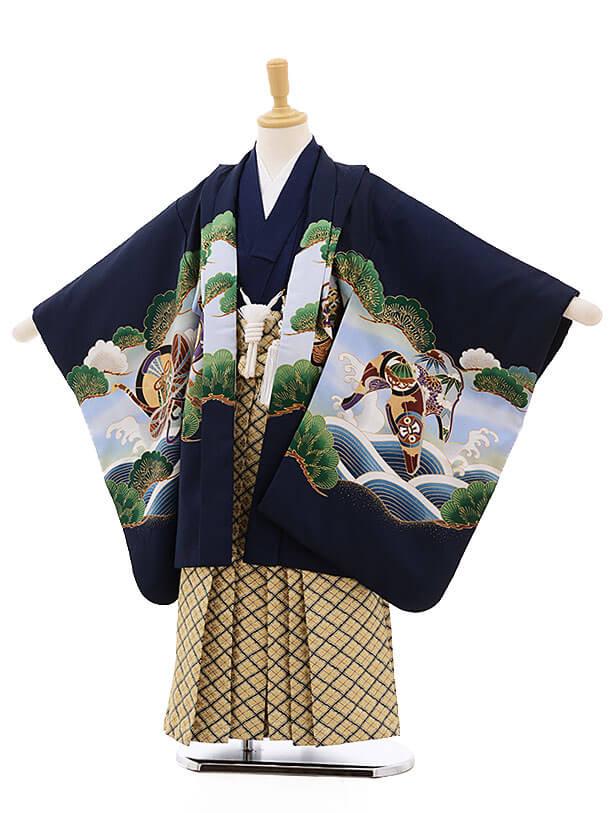 七五三レンタル(5歳男袴)F322 紺地のしめ鷹×金地袴