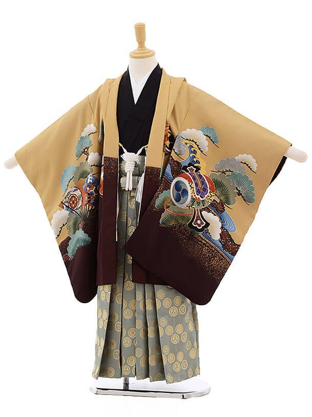 七五三レンタル(5歳男袴)F323 ベージュ地 松に兜×グレー袴