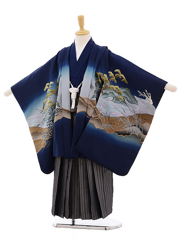 七五三レンタル(5歳男袴)F324 紺地 龍に寅×黒地縞袴