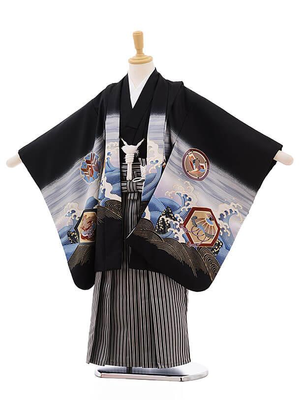 七五三レンタル(5歳男袴)F329 黒地 波に鷹×黒縞袴