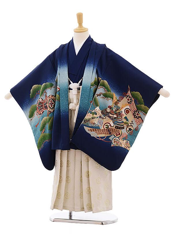 七五三レンタル(5歳男袴)F330 紺地 松鼓に鷹×白地袴