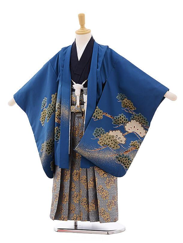 七五三レンタル(5歳男袴)F333 ブルー地 松鷹×グレー袴