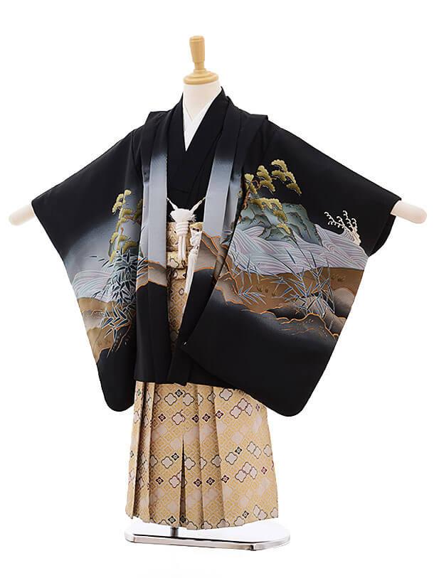 七五三レンタル(5歳男袴)F338 黒地 龍に寅×白地に金袴