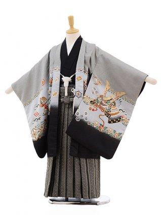 七五三レンタル(5歳男袴)F339 グレー地 裾黒 兜×黒地袴