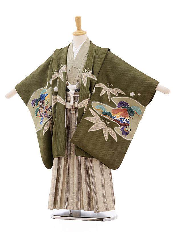 七五三レンタル(5歳男袴)F340 抹茶色 笹に鷹