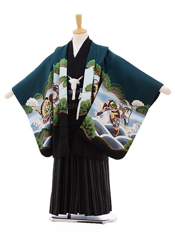 七五三レンタル(5歳男袴)F341 グリーン地 鼓に兜×黒地袴