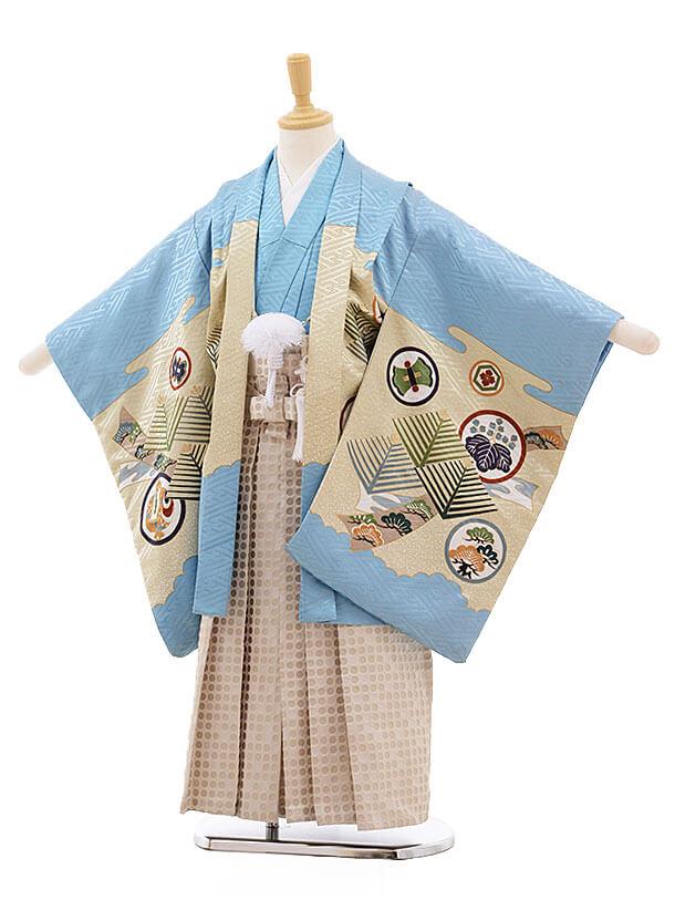 七五三レンタル(5歳男袴)F342 水色地 束ねにし 丸紋×ベージュ地袴