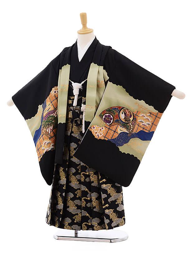七五三レンタル(5歳男袴)F345 黒地 扇絵に鷹×黒地袴
