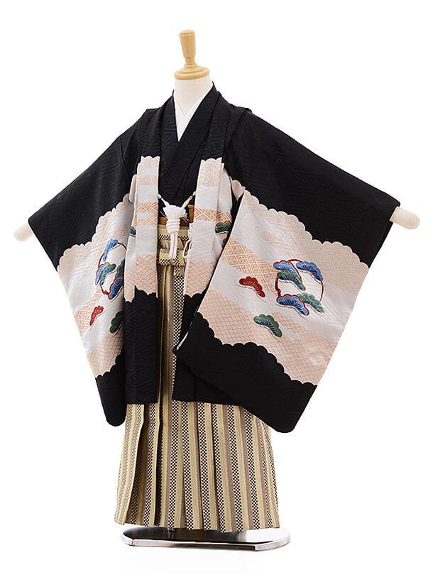 七五三レンタル(5歳男袴)F346 黒地 宝舟に鷹×金地茶縞袴