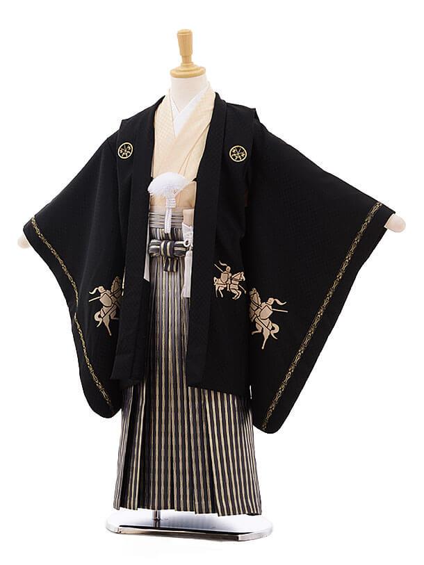 七五三レンタル(5歳男袴)F347 黒 信玄×金銀縞袴