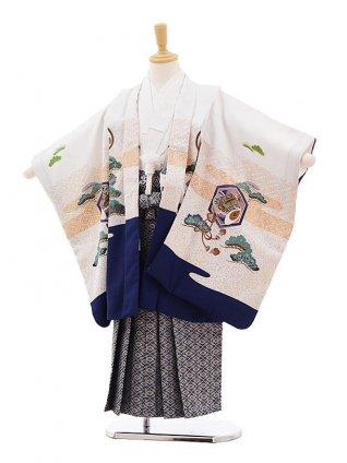 七五三レンタル(5歳男袴)F348 白地 裾紺 鷹×グレー袴