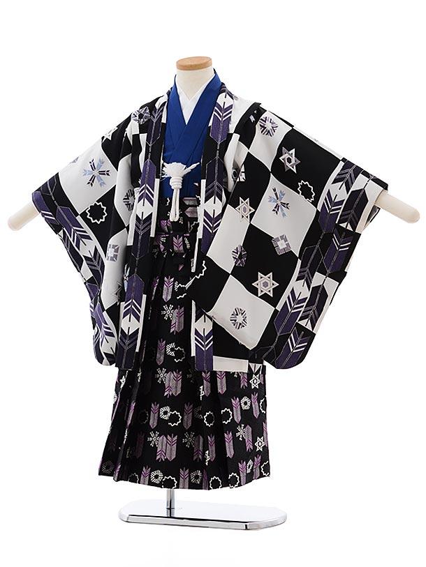 七五三(5歳男児袴) F456 式部浪漫 白黒 矢羽根
