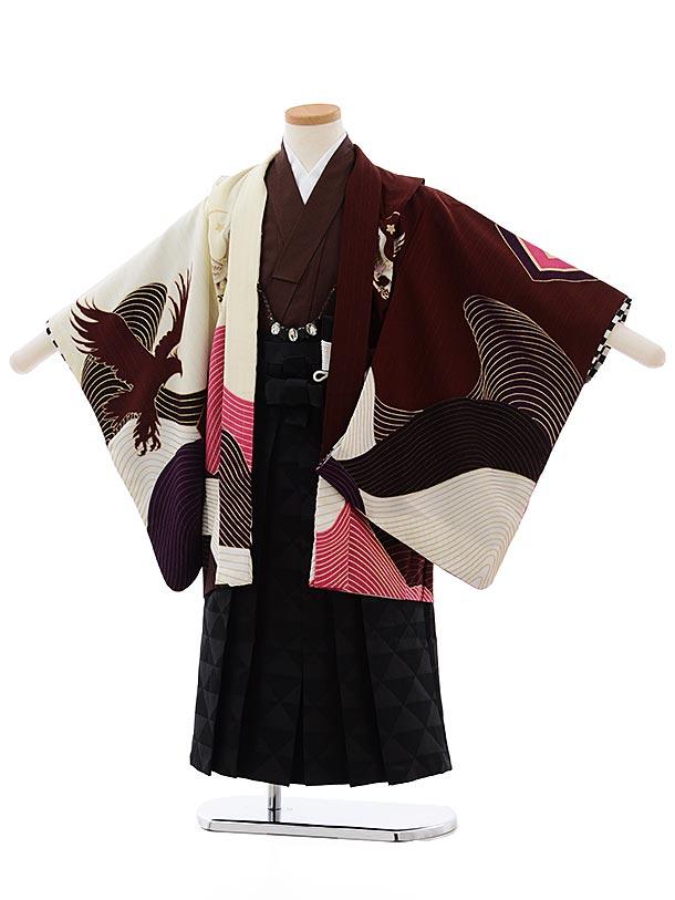 七五三(5歳男児袴) F460 JAPANSTYLE 赤茶 鷹