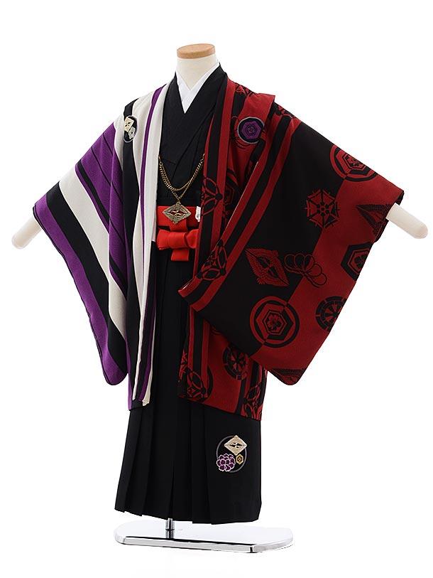 七五三(5歳男児袴) F464 JAPANSTYLE 赤茶 鷹×黒地袴