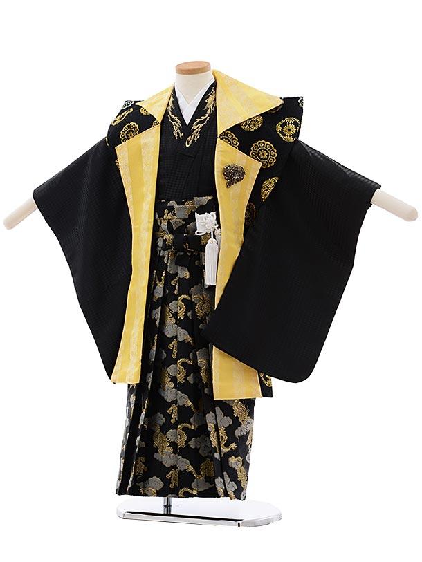 七五三(5歳男児袴) F465 黒×黄色 陣 羽織×黒袴