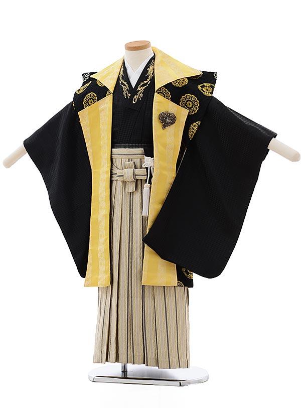 七五三(5歳男児袴) F466 黒×黄色 陣 羽織×ベージュ袴