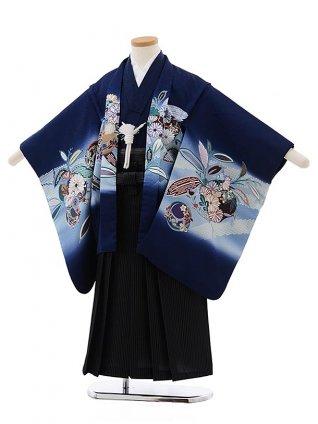 七五三(5歳男児袴) F472 紺地 ぼかし 花にかぶと×黒縞袴