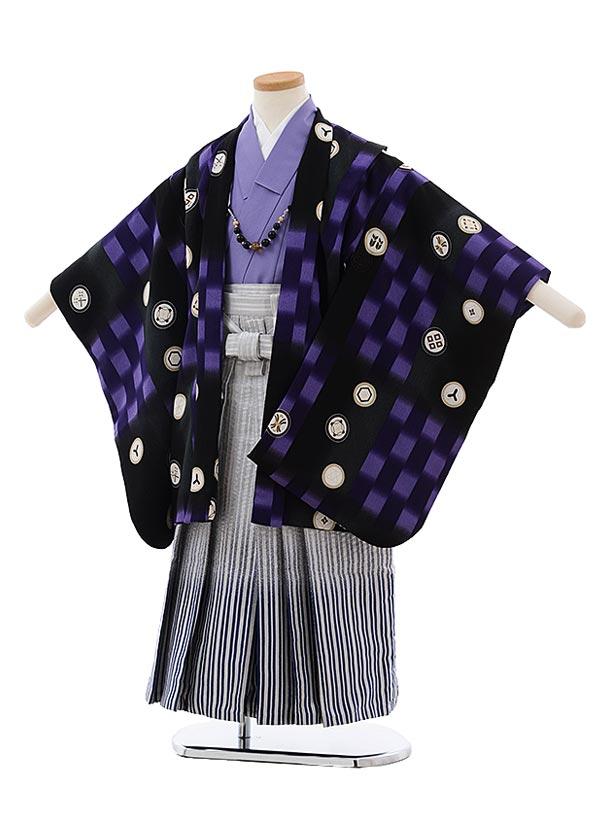 七五三(5歳男児袴)F474 式部浪漫 黒 紫 丸紋