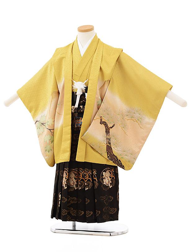 七五三レンタル(4.5歳男児袴)F495からし色兜×黒風神雷神袴