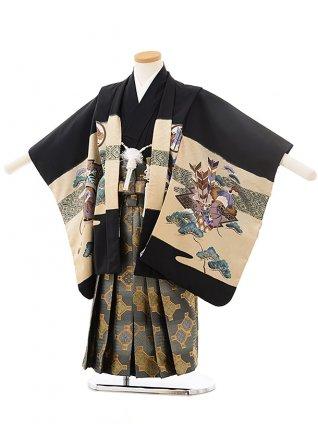 七五三レンタル(4.5歳男児袴)F497黒地松に兜×グレー袴