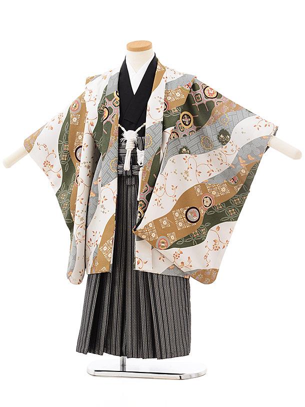 七五三レンタル(5歳男児袴)F500白ベージュ丸紋×黒シルバー袴