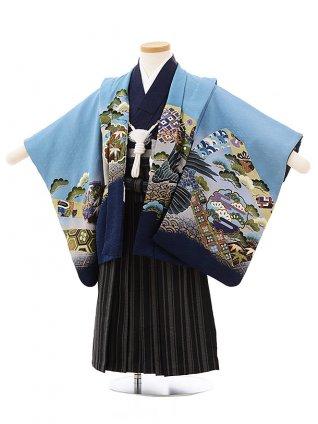 七五三レンタル(3歳男児袴)F503ブルーグレー雪輪鷹×黒縞袴