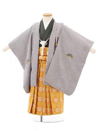 七五三レンタル(3歳男児袴)F504濃グレー地疋田調兜刺繍×ゴールド袴