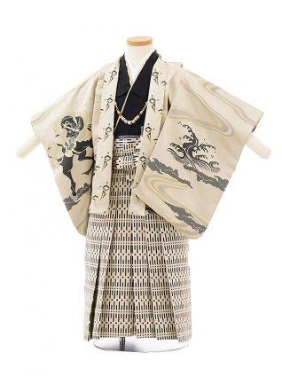 七五三レンタル(3歳男児袴)F505ひさかたろまん 馬×ベージュ袴