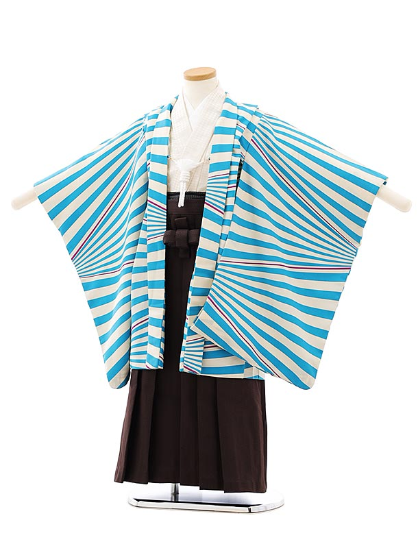 七五三レンタル(5歳男袴)F534ブルー白変わり縞x茶色袴