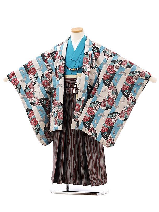 七五三レンタル(5歳男袴)F535ベージュブルー雪輪蝶ぼたんxエンジグレー袴